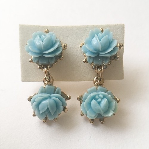 blue rose dangle earring[e-910]