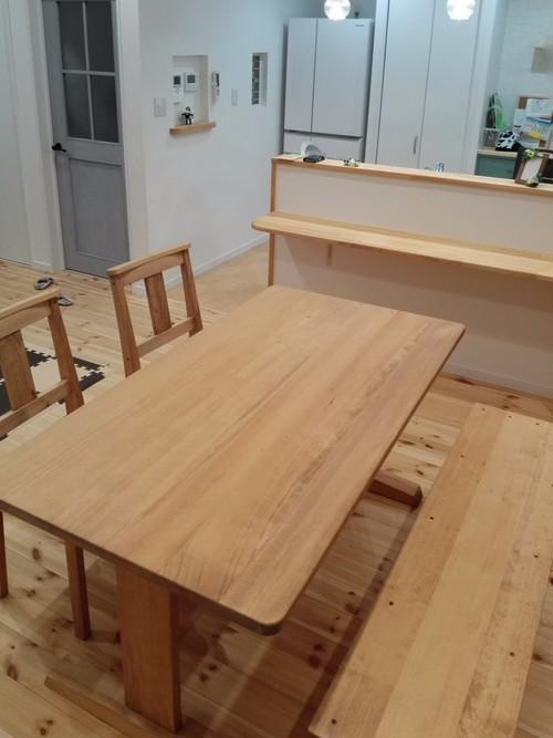 足元すっきりダイニングテーブル  w150×d65×h73 ■サイズ変更