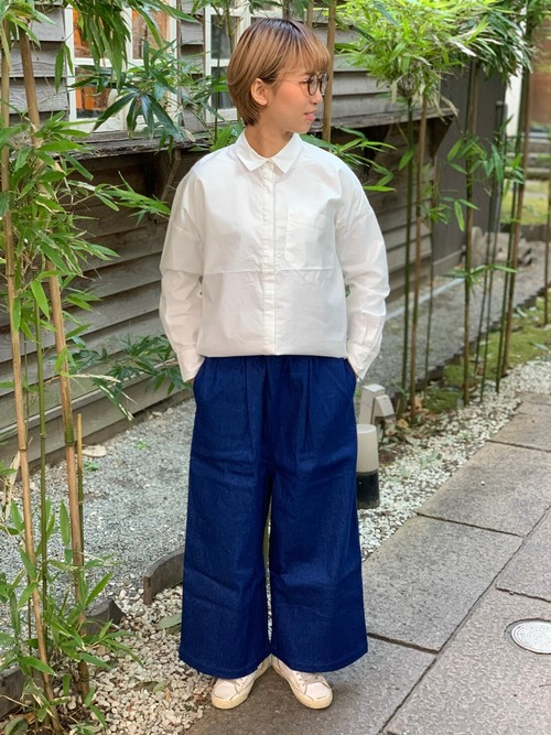 WOMENS:LILOU+LILY【リルアンドリリー】DENIM LIKE STRETCH TWILLワイドストレートパンツ(ブルー/ワンサイズ展開38のみ)