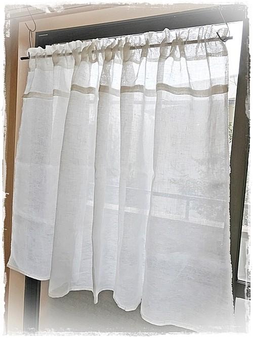 ♥リネンガーゼ*デザインポケットカーテン【ミドル丈】W150×H85 ♦現品限りセール中 ♥