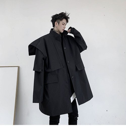 ☆MENS ショルダーウィングブラックコート 韓国ファッション
