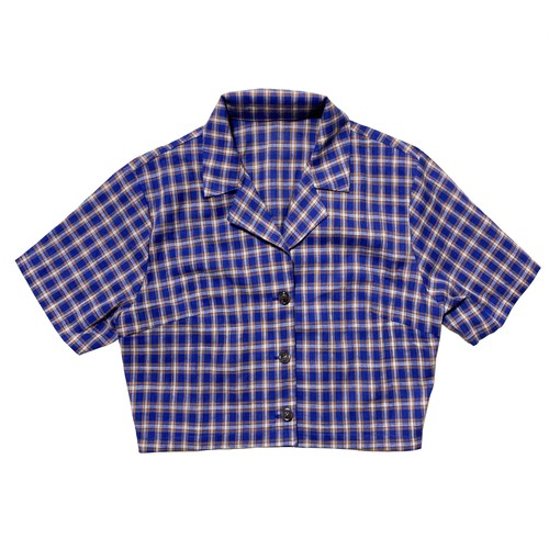 【Pre-Order】Cropped Check Shirt Tops