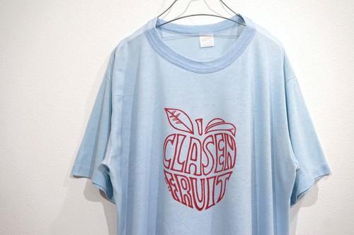 1970's sportswear アップル 染み込みプリントTシャツ ライトブルー 表記(L)