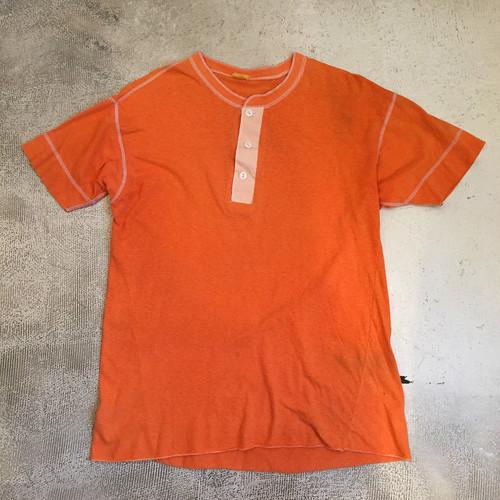 ヘンリーネック Tシャツ オレンジ ヴィンテージ