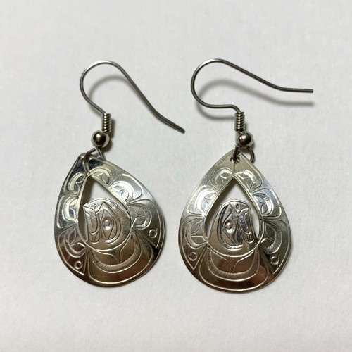 First Nations Hand Carved Sterling Pirced Earrings Made By Don Lancaster (Eagle Motif)
