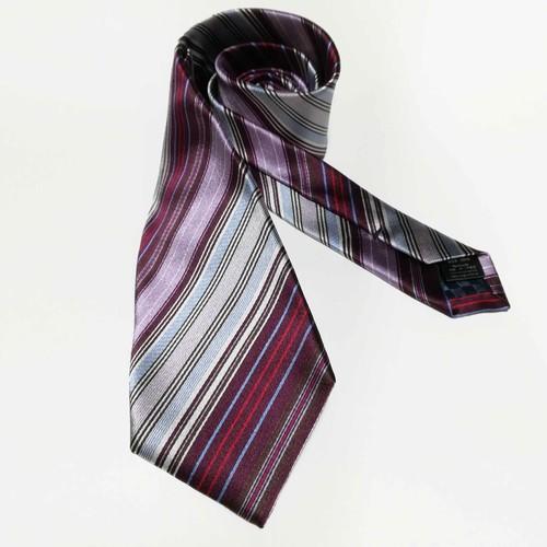 Multi Stripes - Wine どんな色のスーツもおしゃれにまとめる マルチカラーのシルクネクタイ