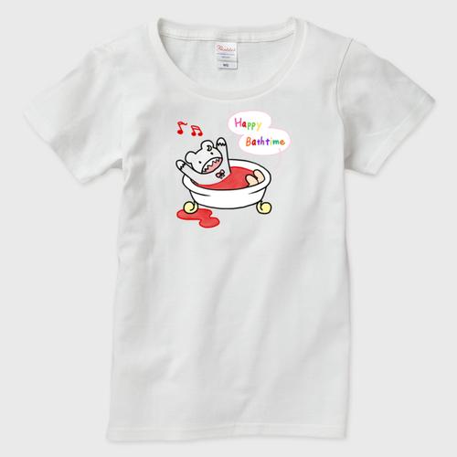 ガウガウさんのハッピーバスタイム レディースTシャツ
