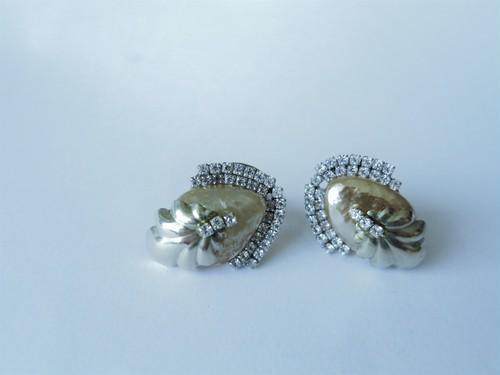 パール&シェルビジューイヤリング ミリアムハスケル vintage earrings Miriam Haskell <PE1-L19>