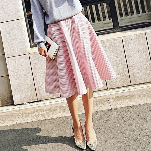 ハニカムボンディングフレアスカート(pink)