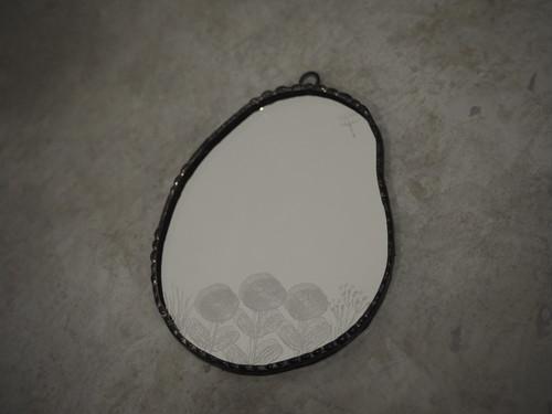 手鏡(輪付き)花 / 雪ガラス