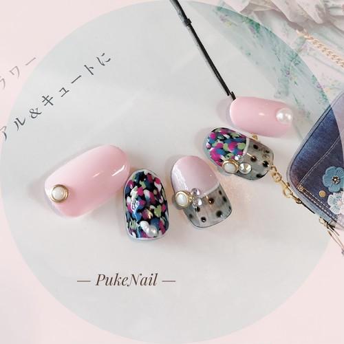 Pukeネイル [No.172] colorful &パール・ピンク♡ジェイルネイルチップ