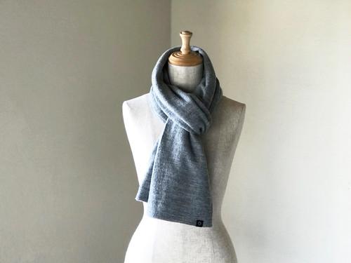 縮絨Woolの筒編みふっくらマフラー Gray
