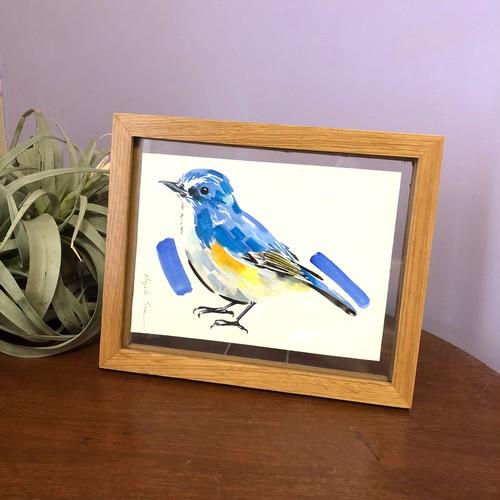 小さな原画「Blue bird」(額付き)