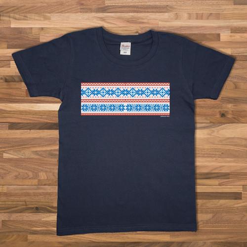 ノルディック柄 Tシャツ/ネイビー【CWE-037NV】