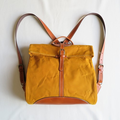 Paraffin canvas back pack「Escargot」 MUSTARD