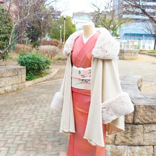 【ポンチョ 】コートの代用に エコファーポンチョ   / ベージュ・ブラウン / お洋服にも!