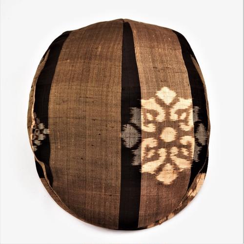 着物地ハンチング:紬 花菱模様×縞模様 1801h07