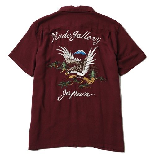 STONED HAWK SOUVENIR SHIRT (BURGUNDY) / RUDE GALLERY