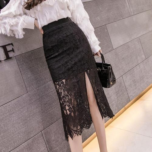 【ボトムス】レディースファッション無地レース透かし彫りスリットフリル裾スカート26277163