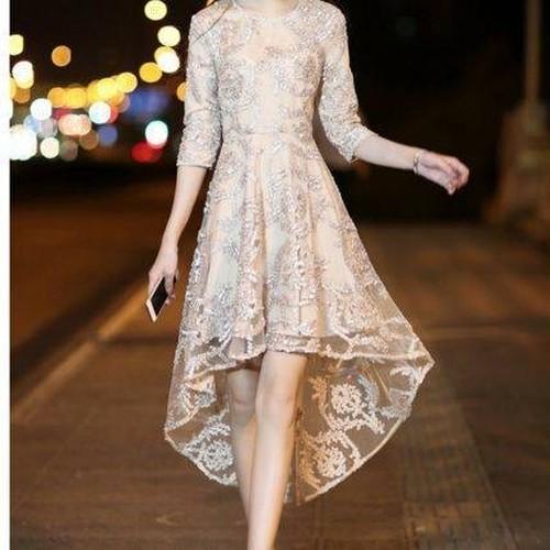 【送料無料】フィッシュテールドレス フリル シースルー パーティー ひざ上丈 お呼ばれ ドレスアップ カラードレス(B375)