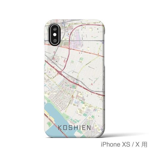 【甲子園】地図柄iPhoneケース(バックカバータイプ・ナチュラル)
