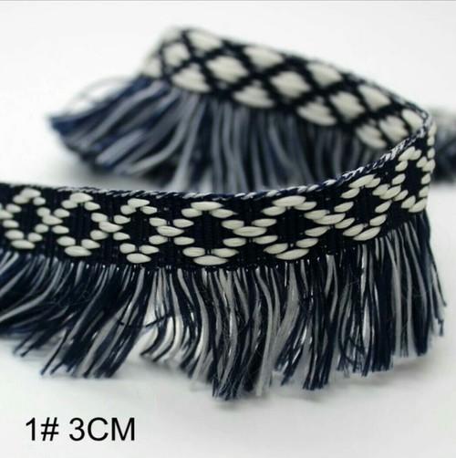 50cm販売 デニム風 カラーフリンジリボン