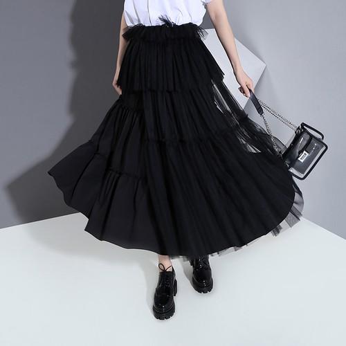 プリーツスカート チュールスカート 韓国ファッション レディース スカート チュールプリーツスカート メッシュ 無地 ロング Aライン ウエストゴム 大人カジュアル 大人可愛い 617761613220