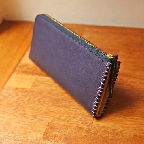 革と糸が選べるオーダーメイドL字ファスナースリム長財布(革:VACCHETTA800/バケッタ800・ネイビー)