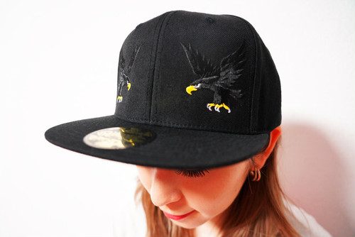 "[予約商品]RAKUGAKI 2020 ""BLACK HAWK"" Logo Snap Back Cap Black"