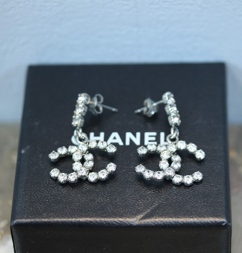 .CHANEL 00 A COCO MARC CLEAR STONE SWING EARRING MADE IN FRANCE/シャネルココマーククリアストーンぶらさがりピアス 2000000029702