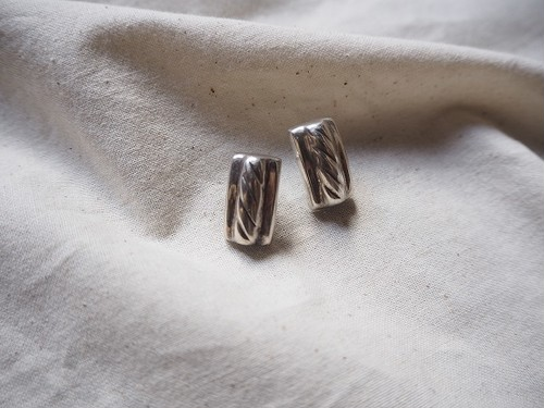 <vintage silver925>square line pierce