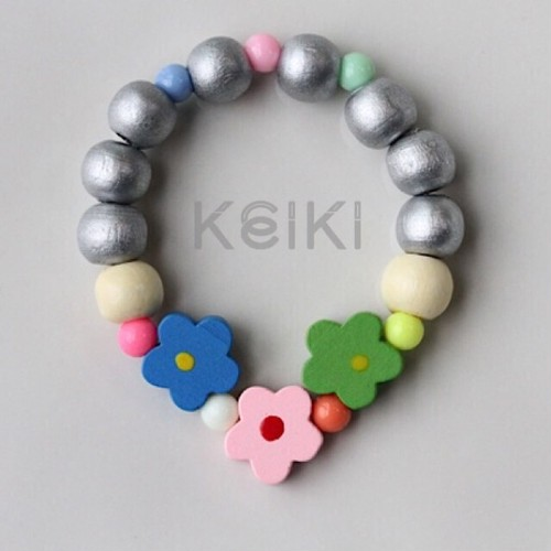 Children's Bracelet - Flower Silver Blue Green Pink キッズブレスレット keikitheshop