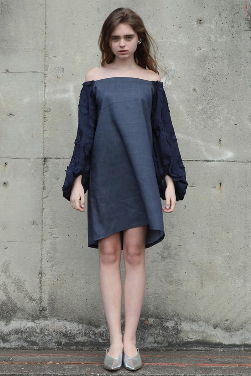 solid lace off the sholder dress/(navy)【ご予約商品】