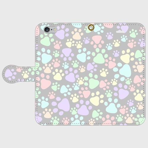 手帳型スマホケース(iPhone・Android対応)  【肉球柄グレー】