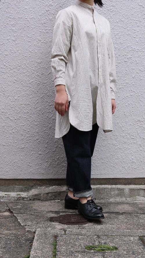 YAECA ボタンシャツ スタンドカラー ロング ブラウンストライプ#99106