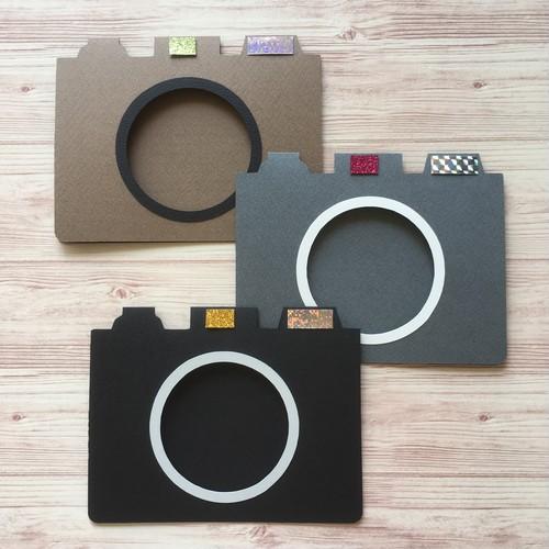 【カメラ型フォトカード】台紙キット《黒・グレー・茶》10枚セット・付属パーツなし