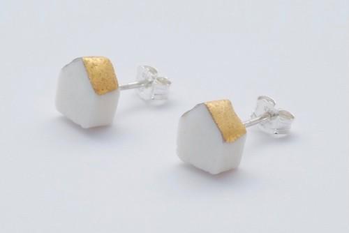 [磁器/silver925 ピアス] 陶磁器ジュエリー / object / スタッドピアス /  home1