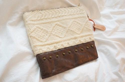 Knit×Leather  studsCrutch Bag (小)SALE40%