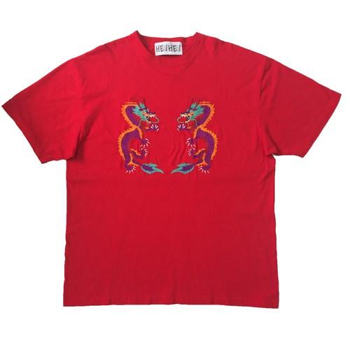 ドラゴン刺繍Tシャツ RED