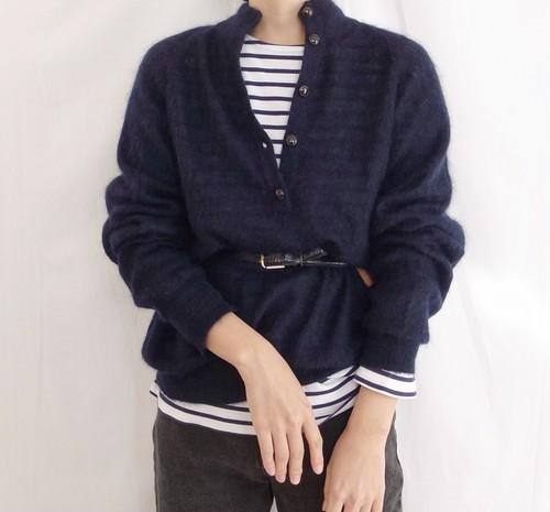 80s Half Button Mohair Blend Sweater
