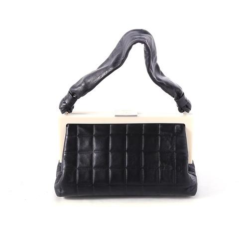 CHANEL/シャネル チョコバーがま口ハンドバッグ ブラック×ホワイト(P12957)