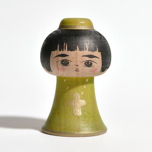 エクソシスコちゃん(グリーン) 約2寸 約5.7cm 長谷川優志 工人(津軽系)#0016