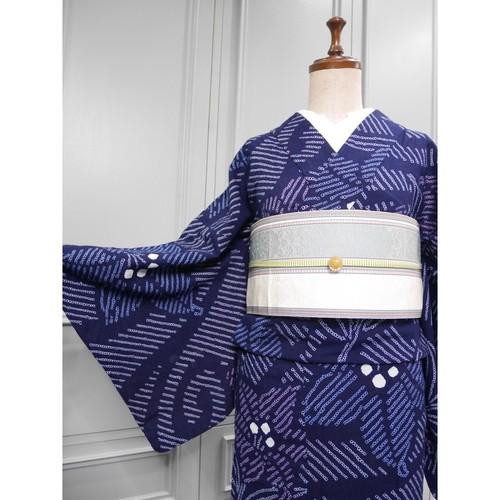 ロング*有松鳴海絞り浴衣*藍色×百合柄 0308