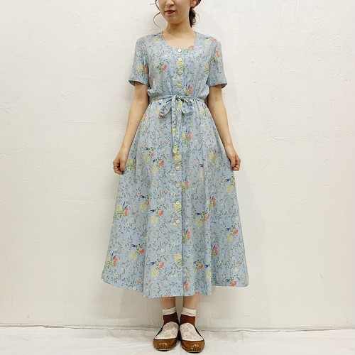(LOOK) flower front button one-piece