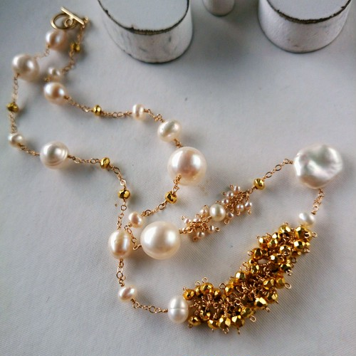 送料無料14kgf♡pearl×gold Pyrite station necklace