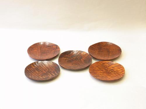 山中塗 木製 くりぬき 銘々皿5枚組 さざ波 拭き漆
