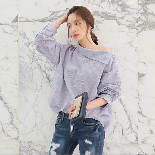 Batwing Full Sleeve Striped Loose Oblique Collar Blouse Shirt 225