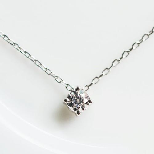 Pt900 さらっと気負わない ダイヤモンド 0.1ct ネックレス