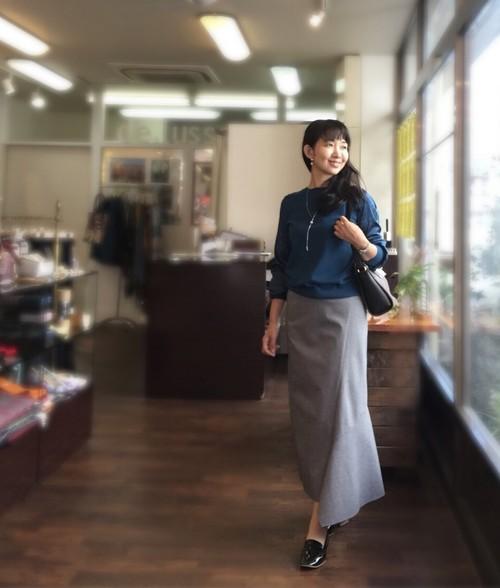 袖サテン切り替えニット SUGAR ROSE