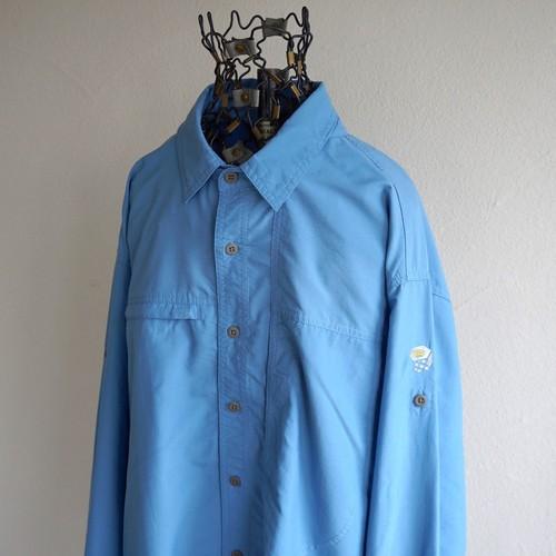 [MOUNTAIN HARD WEAR] 袖ロールアップ仕様 2way ナイロン×ポリエステルシャツ ライトブルー 実寸(XL程度) マウンテンハードウェア